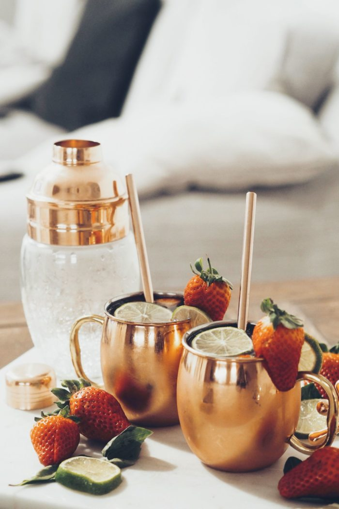 Strawberry, lime and basil Moscow Mule recipe