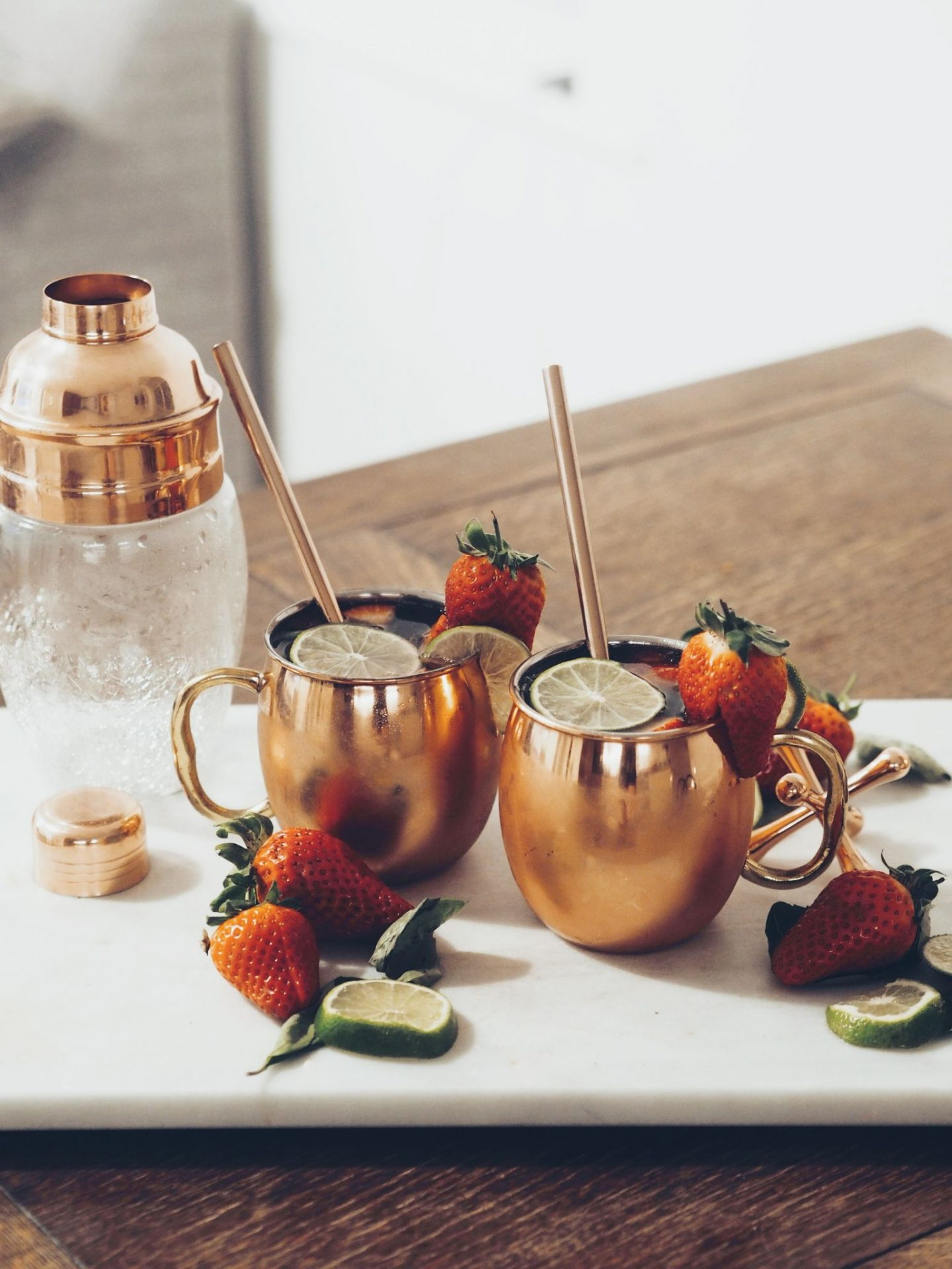 Strawberry, Lime and basil Moscow Mule